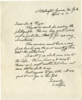 "Autographs:Artists, Edward Hopper Autograph Letter Signed ""E. Hopper"". One page,8.5"" x 10.25"", plain paper, New York, April 13, 1951, to Di..."