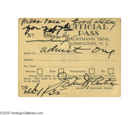 Lindbergh Kidnapping Trial Official Press Pass from Flemington, New Jersey dated February 7th, 1935, and signed by Hunte...