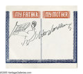 """Autographs:Celebrities, Harpo Marx Signature and Sketch. This 5"""" x 4.5"""" album page features a small sketch of Harpo Marx playing the harp, and his s..."""