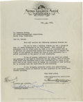 "Autographs:Celebrities, Famed Hollywood Mogul Louis B. Mayer 1931 Signed Contract Measuring8.0"" x 10.25"" and very fine except trimmed across top e..."