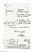 """Autographs:Artists, Leroy Neiman Letter Group Lot. This lot contains four lettershandwritten by Leroy Neiman, three of which measure 8.5"""" x 1...(Total: 4 items)"""