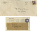 "Autographs:Authors, John Steinbeck- Two Hand-Addressed Envelopes, one signed"" Steinbeck in the return address. The business sized (#10) enve..."