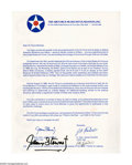 """Autographs:Celebrities, James Stewart and James Doolittle Signed Air Force Document. Onepage, 8.5"""" x 11"""", a printed letter on Air Force Museum Foun..."""