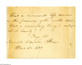 "Autographs:Authors, Harriet Beecher Stowe Autograph Note Signed ""Harriet BeecherStowe"", one page, 5.25"" x 4"", December 20, 1889. The note r..."