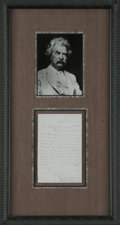 Autographs:Authors, Legendary American Author and Humorist Mark Twain Autograph Letter Signed Samuel L. Clemens (Mark Twain) in purple ink,...