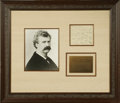 "Autographs:Authors, Samuel Clemens (Mark Twain) Autograph Note Signed ""SLClemens."" One page, 4.75"" x 4"", np, nd. This note was writtento ..."