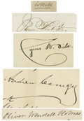 Autographs:Celebrities, Collection of Nineteenth Century Notables Autographs. Lot includesAndrew Carnegie, Cyrus W. Field, James Fisk, Jr., Oliver ...