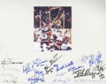 "Autographs:Celebrities, 1980 USA Olympic Hockey Team Signed Photograph, 6.5"" x 8.0"" colorimage mounted to 18.5"" x 14.5"" board with 19 players' auto..."