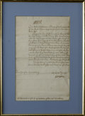 "Autographs:Non-American, British Queen Anne Document Signed, ""Anne R"". Attractivemanuscript warrant authorizing funds for Anne's Secret Service,..."