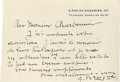 "Autographs:Artists, Georges Braque Autograph Letter Signed ""G. Braque"". Onepage, 5.5"" x 3.75"" correspondence card, Paris, not dated [Novemb..."