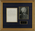 "Autographs:Non-American, Albert Einstein Autograph Letter Signed ""A. Einstein."" Onepage, 8"" x 10.5"", Princeton, New Jersey, nd. This letter is ..."