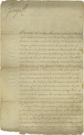 "Autographs:Non-American, King George the III of England Document Signed ""George R,""as King. Two pages, 9.25"" x 14"", St. James Court, February 7,..."