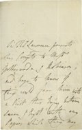 "Autographs:Artists, Sir Thomas Lawrence, Major British Portrait Artist, AutographedLetter Signed, with Art Content Measuring 4.25"" x 7.0"" 2 pp..."