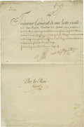 """Autographs:Statesmen, King Louis XVI of France Document Signed 1792 Partly Printed DS:""""Louis"""" in French as King of France, 1p, 9.25"""" x 14"""". P..."""