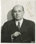 "Autographs:Non-American, Jan Masaryk Inscribed and Signed Photograph. Black and whitephotograph, 8"" x 10"", np, June, 1945, signed as ""To R.R.Gr..."