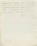 "Autographs:Statesmen, Emperor Napoleon Letter to his Minister of War Manuscript LS:""Np,"" in French as Emperor, half page, 7.25"" x 9"".Fontain... (Total: 2 items)"