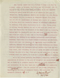 Autographs:Authors, Extraordinary Content George Bernard Shaw Manuscript During WorldWar II Giving His Views as to Whether an effective British-A...