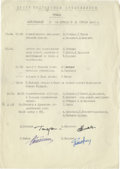 "Autographs:Non-American, Russian Cosmonaut Document Signed, Featuring Yuri Gagarin. Onepage, 8.25"" x 11.75"", Center for Cosmonaut Training letterhea..."