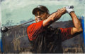 Golf Collectibles:Autographs, 2000's Tiger Woods Signed Giclee by Stephen Holland....