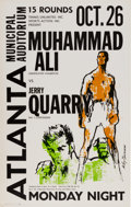 Boxing Collectibles:Memorabilia, 1970 Muhammad Ali vs. Jerry Quarry On-Site Boxing Poster....