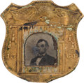 Political:Ferrotypes / Photo Badges (pre-1896), Abraham Lincoln: 1864 Shield Ferrotype Badge....