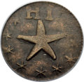 Coins of Hawaii , (1871) TOKEN Wailuku Plantation 6 1/4 Cent, Narrow Starfish, AU50 PCGS. M. 2TE-4....