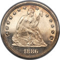 Proof Seated Quarters, 1886 25C PR66 Cameo PCGS. CAC. Briggs 2-B....