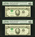 Error Notes:Inverted Third Printings, Fr. 2082-I $20 1995 Federal Reserve Notes. Two ConsecutiveExamples. PMG Gem Uncirculated 65 EPQ.. ... (Total: 2 notes)
