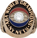 """Basketball Collectibles:Others, 1973-74 New York Nets ABA Championship """"Sample"""" Ring...."""