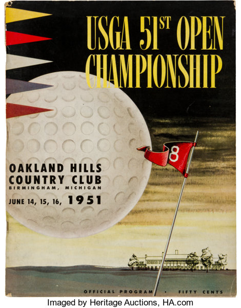 golf collectiblesmiscellaneous 1951 us open golf championship program course