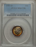 Roosevelt Dimes, 1947-D 10C MS67 Full Bands PCGS. PCGS Population (34/1). NGC Census: (26/0). Mintage: 46,835,000. Numismedia Wsl. Price for...