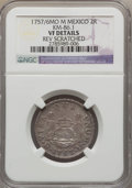 Mexico, Mexico: Ferdinand VI 2 Reales 1757/6 Mo-M VF Details (ReverseScratch) NGC,...