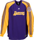 Basketball Collectibles:Uniforms, 2007-08 Kobe Bryant Game Worn Los Angeles Lakers Shooting Shirtwith 60 Years Patch. ...