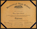 Baseball Collectibles:Others, 1940 Cum Posey Signed Homestead High School Diploma. ...