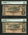 Confederate Notes:1864 Issues, T68 $10 1864 PF-42 Cr. 551, Two Examples. ... (Total: 2 notes)