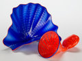 Art Glass:Other , Dale Chihuly (American, b. 1941). Two-Piece Blue and Red SeaformGroup. Blown glass. 6-1/2 inches high x 11-3/4 inches w...(Total: 2 Items)