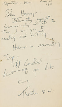 Thornton Wilder Autograph Note Signed. Dated May, 1971
