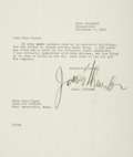 Autographs:Authors, James Thurber Typed Letter Signed. Dated September 7, 1959....