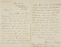 Autographs:Non-American, Henry E. Roscoe, chemist (1833 - 1915). Autograph Letter Signed.Dated March 16, 1887....