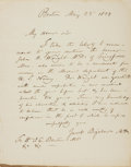 Autographs:Celebrities, Jacob Bigelow Autograph Letter Signed. Dated May 25, 1839....