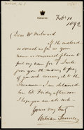 Autographs:Non-American, Sir William Jenner, 1st Baronet and physician (1815 - 1898).Autograph Letter Signed. Dated February 10, 1892....