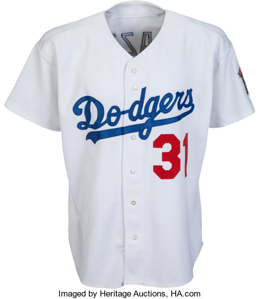 brand new af003 8ce85 1998 Mike Piazza Game Worn Los Angeles Dodgers Jersey with ...