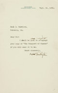 Autographs:Authors, Booth Tarkington Typed Letter Signed. ...