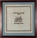 "Political:Textile Display (pre-1896), William Henry Harrison: Historic and Unique ""Tippecanoe and TylerToo"" Kerchief...."