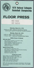 Basketball Collectibles:Others, 1979 NCAA Finals Press Pass - Magic Vs. Bird (one of few known)....
