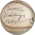 Autographs:Baseballs, 1934 Tour of Japan Team Signed Baseball--A Magnificent Example....