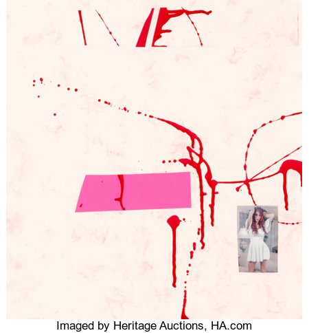 Sterling Ruby (b. 1972)Transcompositional (White Dress), 2006Nail polish and collage on marbleized paper and fluores...