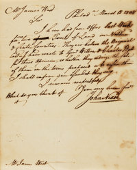 John Nixon, first public reader of the Declaration of Independence (1733 - 1808). Autograph Letter Signed. Dated Marc