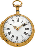Timepieces:Pocket (pre 1900) , Julien Le Roy Paris Gold Quarter Hour Repeating Verge Fusee, circa1740. ...