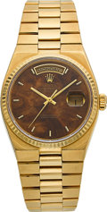 Timepieces:Wristwatch, Rolex Ref. 19000 Gold Oysterquartz With Mahogany Dial. ...